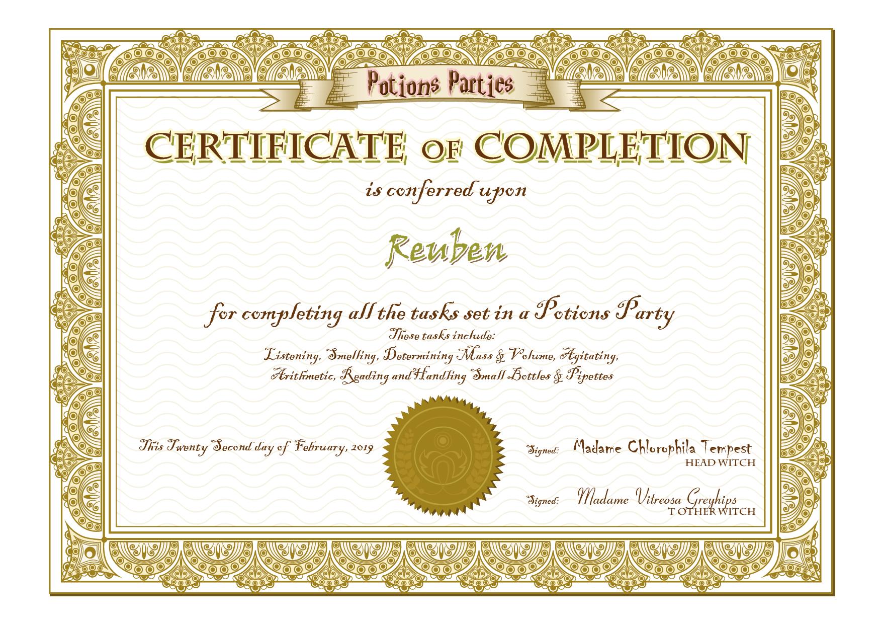 PP Certificate - Reuben